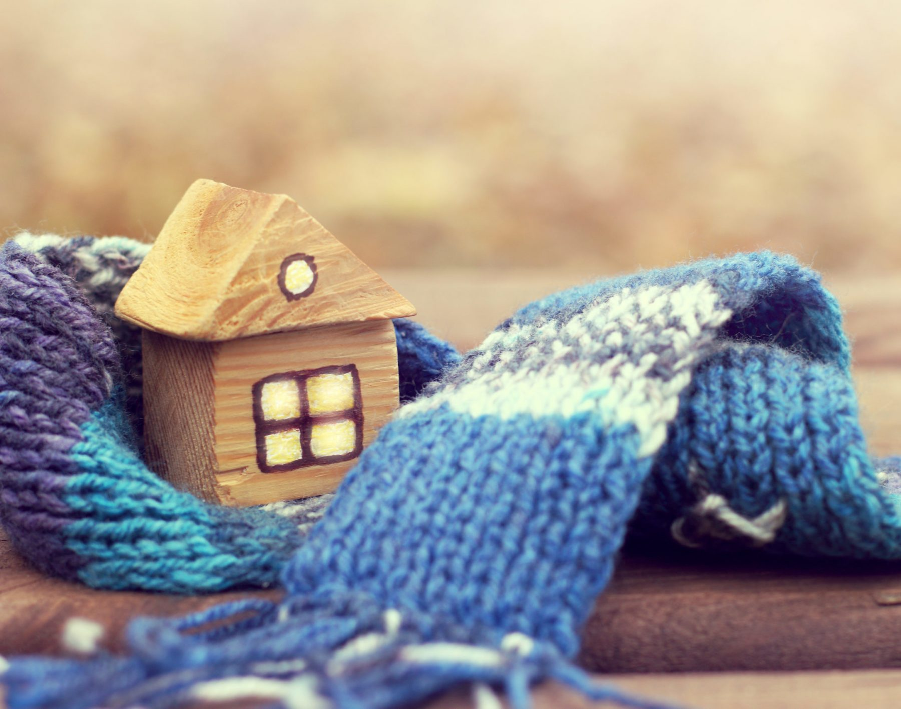 property insurance/ small wooden house in a warm blue scarf